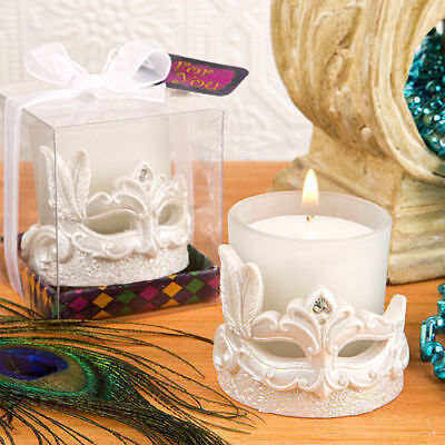 12-720 Mardi Gras Masked Theme Votive Candle - Wedding Party Favors - Mardi Gras Theme