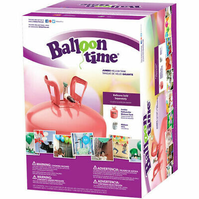 Balloon Time 12in Jumbo Helium Tank Includes Ribbon Lightweight Easy-to-Use New