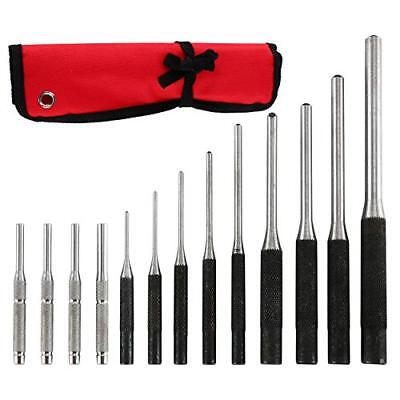 - 9 Pieces Roll Pin Punch Set and 4 Pieces Hollow End Starter Punch Tool Kit