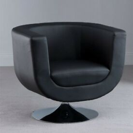 HAVANA MODERN TUB CHAIR IN BROWN FAUX LEATHER, SWIVEL FEATURE FURNITURE IN Fashion