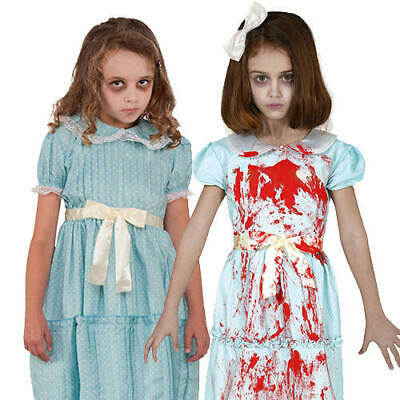 Matching Sister Halloween Costumes (Creepy Ghost Twin Sister Girls Fancy Dress The Shining Twins Halloween)