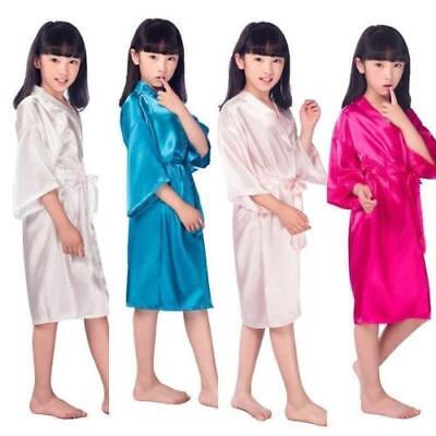 Silk Kid Flower Girl Robe Kimono Bridesmaid Girls Robes Dress Children Bathrobe - Kids Bathrobe