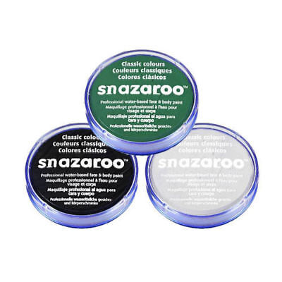SNAZAROO FACE & BODY PAINT SET 18ml (BLACK, WHITE, GREEN) DEAD ZOMBIE HALLOWEEN (White Body Paint Halloween)