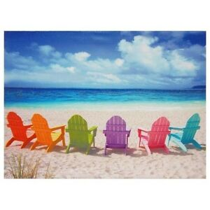 Beach Chairs Canvas Wall Art Ocean Scene Sand Summer Vacation Relaxing Waves