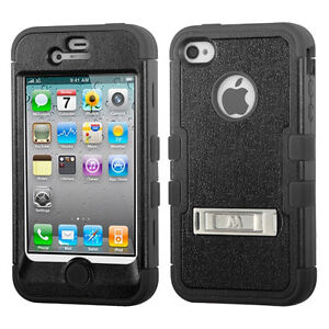 Natural Black TUFF Hybrid Protector with Stand for iPhone 4/4S