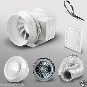 4-100mm-Bathroom-Shower-Inline-Extractor-Fan-Kit-light-duct-grill-timer-TT