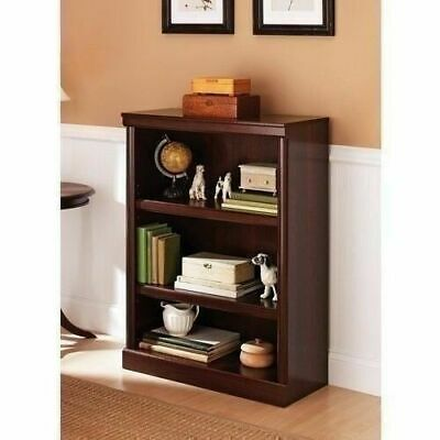 Cherry Finish 3 Shelf Bookcase Wooden Bookshelf Adjustable Shelves Storage Home (Cherry Finish Storage)