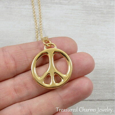 Gold Peace Sign Charm Necklace - Peace Symbol Love Hippie Pendant Jewelry -