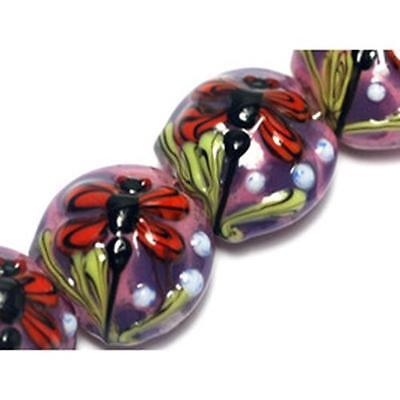 Artist Bead Lampwork Round Coin Bead Dragonfly Approx 14mm *UK EBAY SHOP*