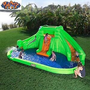 NEW BLAST ZONE CROCODILE WATER PARK - 119087071 - CROCODILE ISLE INFLATABLE WATER PARK WITH DUAL SLIDES INFLATABLES P...