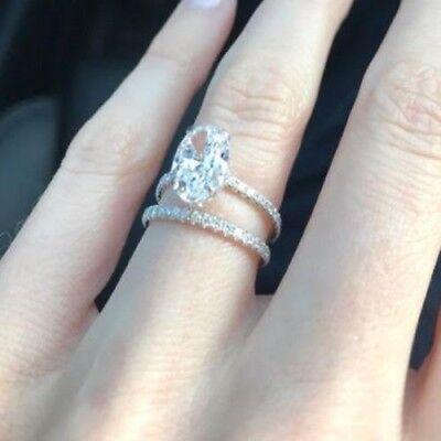 2.50 Ct. Oval Cut Diamond Engagement Ring w/ Matching Band F, VS1 GIA 18k WG