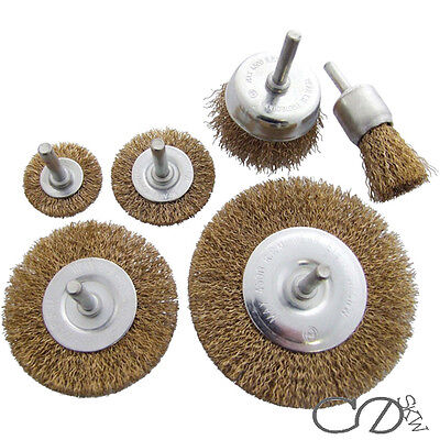 6pc Rotary Wire Wheel Set Brush Cup 6mm Shank Rust Paint Weld Removal