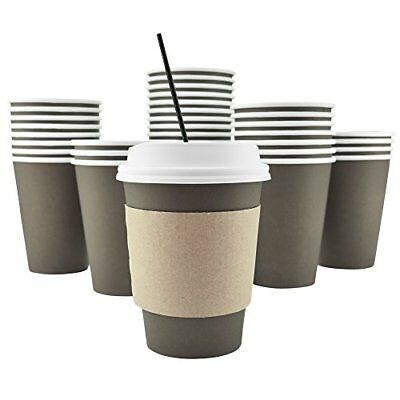 100 Pack Disposable Hot Paper Coffee Cups Lids Sleeves Stirring Straws To - Stirring Straws