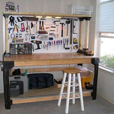 Diy custom workbench storage wooden shelf garage shop for Diy garage shop