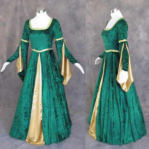 Medieval-Renaissance-Green-Gold-Gown-Dress-Costume-LOTR-Wedding-4X