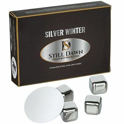 Whiskey Stones Stainless Steel - Premium Quality Set of Reusable 8 Chilling Cube