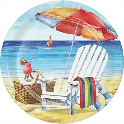 Breezy Beach 9 Inch Paper Plates Drinks Beach Picnic Summer Party Decorations - Beach Paper Plates