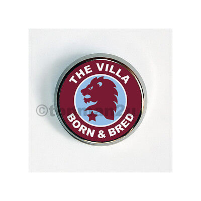 New, Quality Round Metal Pin Badge - Villa Born & Bred, Lion, Aston