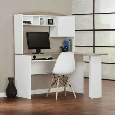 L Shaped Computer Desk Student Furniture Home Office Dorm Room White