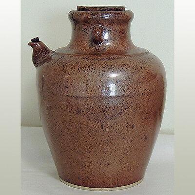 a fine old large glazed storage vessel jug with original corks china