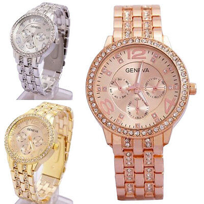 $6.59 - Luxury Fashion Geneva Women's Crystal Stainless Steel Quartz Analog Wrist Watch
