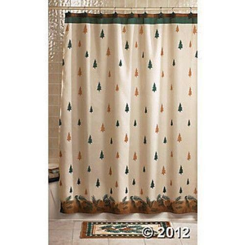 Country Christmas Bathroom Sets: Pine Cone Shower Curtain
