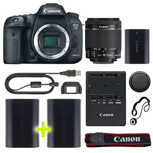 Canon 7D Mark II Digital SLR Camera with 18-55mm IS STM Lens + Backup Power Kit