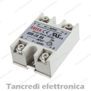 Relè SSR-25DA statico stato solido 25A 380-24Vac - 32-3Vdc solid state relay - Italia - L'oggetto può essere restituito - Italia