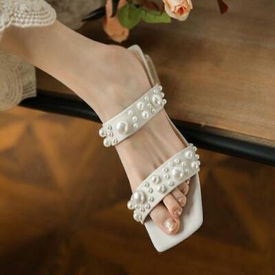 как выглядит Womens Fashion Summer Peep Toe Pearls Slippers Clear Pumps Mid Heels Sandals фото