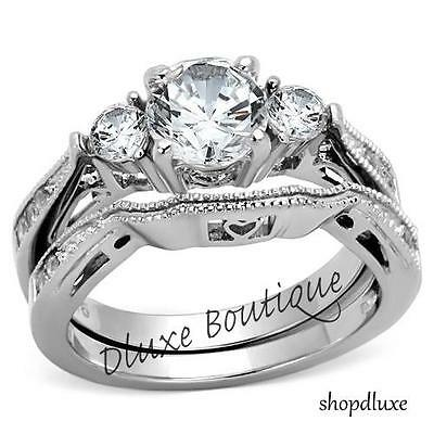 Ring - 2.50 Ct Round Cut AAA CZ Stainless Steel Wedding Band Ring Set Women's Size 5-10