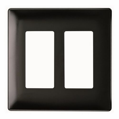 Legrand Two Gang Decorator Screwless Wall Plate in Black