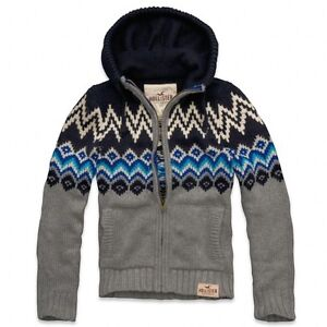 Hollister by Abercrombie and Fitch!Mens New Hooded Wool Knit Sweater Outerwear-L