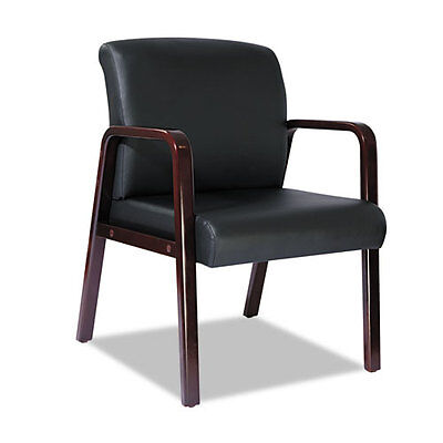 Alera Reception Lounge Guest Chair Mahogany Wood Black Leather Alerl4319m