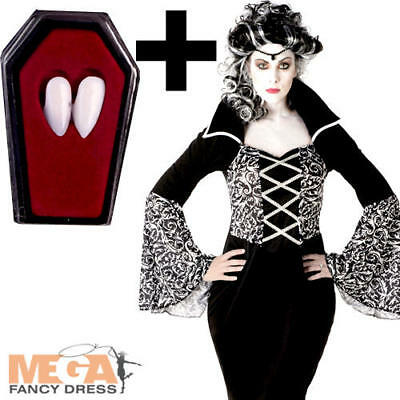Royal Vampiress + Fangs Ladies Fancy Dress Vampire Adults Halloween Costume New