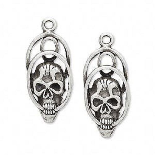 2532FD Charm, Antiqued Silver ptd Pewter, 26x13mm Skull  - 2 Qty