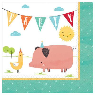 FARM PARTY Barnyard Birthday LUNCH NAPKINS (16) ~Supplies Pig Serviettes Chicken](Barnyard Birthday Supplies)