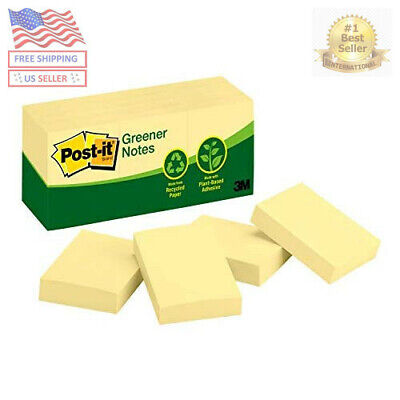 Post-it Recycled Note Pads 1 12 X 2 Canary Yellow 100-sheet 12pack 653rpyw