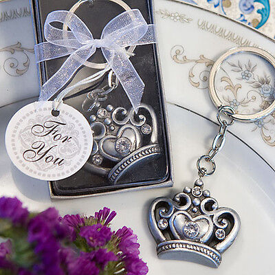 36 Superior Crown Design Key Chain Bridal Shower Wedding Party Favor Bulk Lot