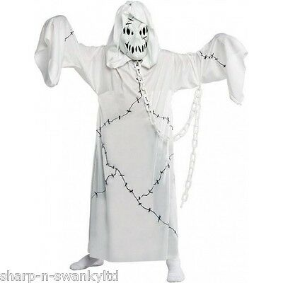 Boys Girls Scary Cool Ghoul Halloween Ghost Fancy Dress Costume Outfit 4-12 yrs