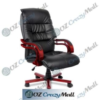 PU Leather & Wood Deluxe Office Chair Black and Red