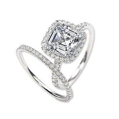 3.25 Ct. Asscher Cut Halo Round Diamond Platinum Engagement Ring Set GIA G,VVS2