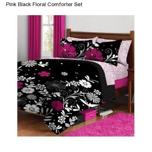 pink white black flowered teen girls full comforter sheet bed in a bag set ebay. Black Bedroom Furniture Sets. Home Design Ideas