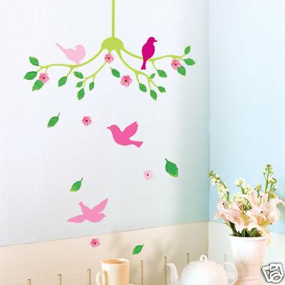 Pink Birds Flower Vine Tree Wall Stickers Art Decal Home DIY Decor Wallpaper UK