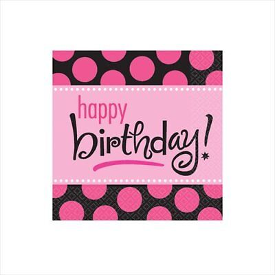 POLKA DOT Pink and Black SMALL NAPKINS (16) ~ Birthday Party Supplies Beverage