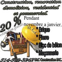 HOMME À TOUT FAIRE. CONSTRUCTION, DEMOLITION ET RENOVATION.