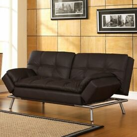 BLACK LEATHER 3 SEATER SOFA BED X 2 HIGH QUALITY