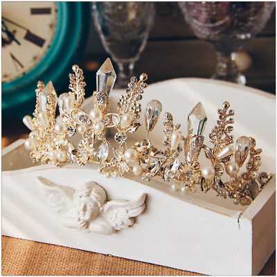 Queen Baroque Bridal Wedding Gold Crystal Pearl Crown Tiara Headband Headpiece