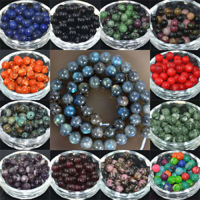 Multi Color Beads (Wholesale Lot Natural Stone Gemstone Round Spacer Loose Beads 4MM 6MM 8MM)