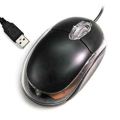 MOUSE USB OTTICO CON FILO NERO LUCE LED BLU PORTATILE NOTEBOOK PC COMPUTER