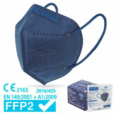 25xHochwertige FFP2 Maske Mundschutz 5-lagig blau ✅ mit Ohren-Komfort-Clips
